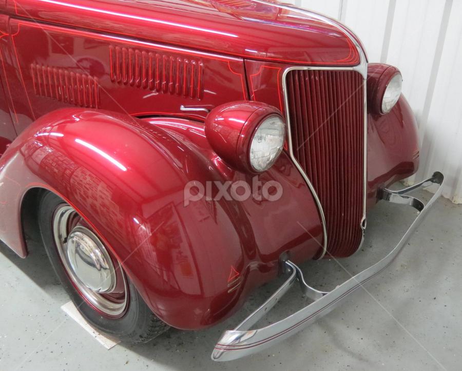 Cherry Red car by Nancy Tharp - Transportation Automobiles