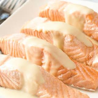 Poached Salmon With Lemon Sauce.