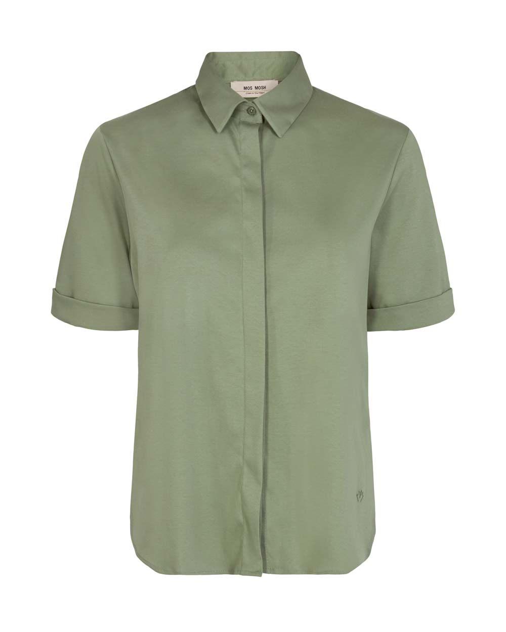 Mos Mosh Marta jersey shirt short sleeve oil green