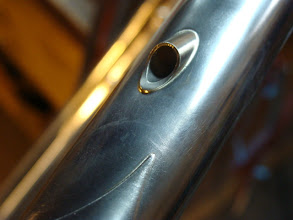 Photo: Top tube internal, everything shown is polished stainless.