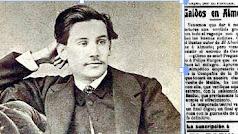 Retrato de un joven Galdós y el anuncio de su llegada a Almería.