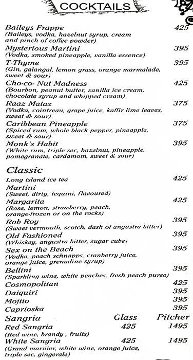 Mia Bella menu 3