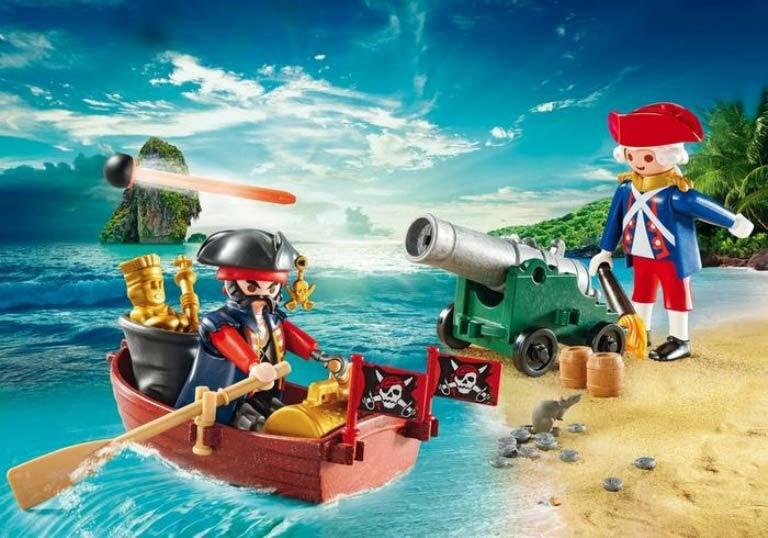 Contenido real de Playmobil® 9102 Maletín Grande Pirata y Soldado