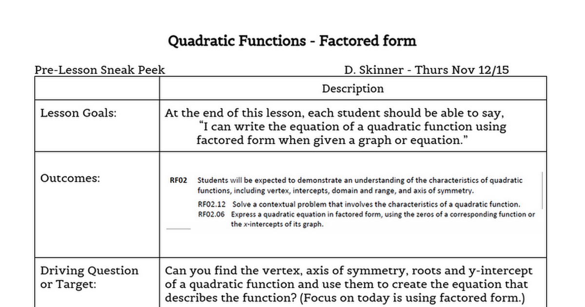 Quadratic Functions Factored Form Google Docs