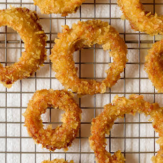 Potato Chip Crusted Baked Onion Rings.