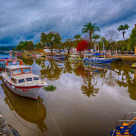 Old Town Paraty by Pravine Chester - City,  Street & Park  Vistas ( vistas, water, paraty, boats, street, transportation, city )