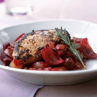 Marinated Duck Breasts with Shallot and Beet Relish.