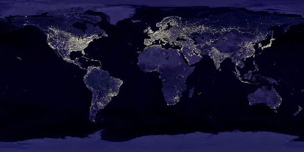 Photo: Credit Data courtesy Marc Imhoff of NASA GSFC and Christopher Elvidge of NOAA NGDC. Image by Craig Mayhew and Robert Simmon, NASA GSFC.This image of Earth's city lights was created with data from the Defense Meteorological Satellite Program (DMSP) Operational Linescan System (OLS). Originally designed to view clouds by moonlight, the OLS is also used to map the locations of permanent lights on the Earth's surface.The brightest areas of the Earth are the most urbanized, but not necessarily the most populated. (Compare western Europe with China and India.) Cities tend to grow along coastlines and transportation networks. Even without the underlying map, the outlines of many continents would still be visible. The United States interstate highway system appears as a lattice connecting the brighter dots of city centers. In Russia, the Trans-Siberian railroad is a thin line stretching from Moscow through the center of Asia to Vladivostok. The Nile River, from the Aswan Dam to the Mediter