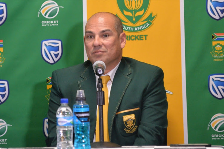 Russell Domingo during the South African national cricket team departure press conference at OR Tambo International Airport, ACSA Media Centre on May 16, 2017 in Johannesburg, South Africa.