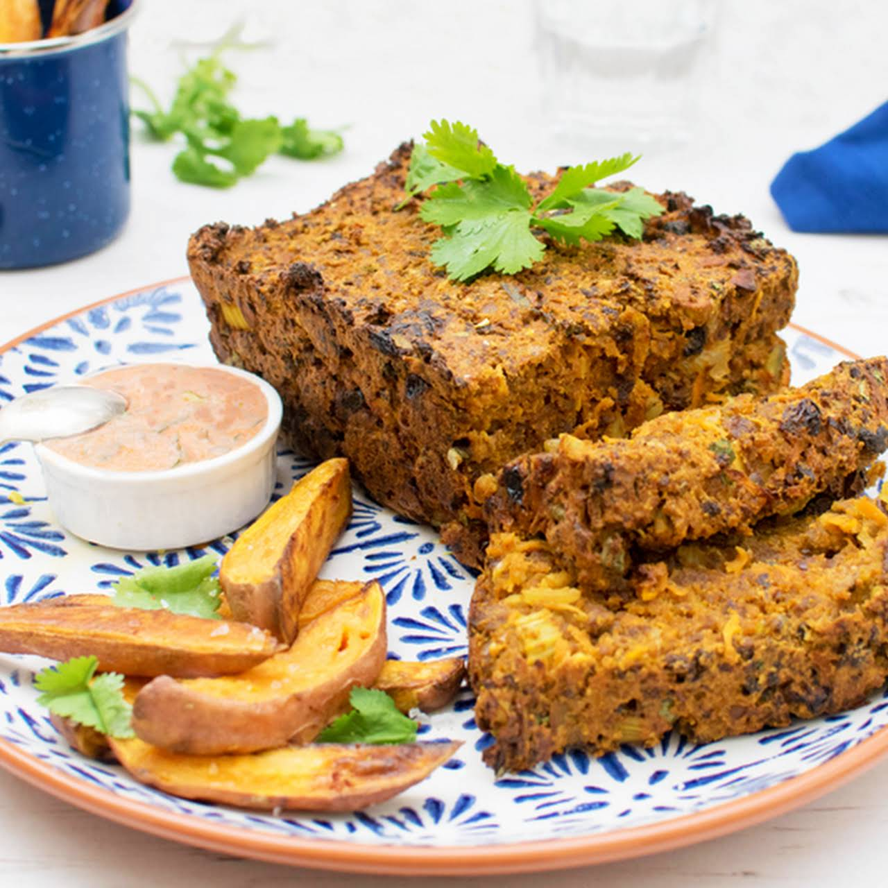Moroccan Quorn Meatloaf  once Creamy Harissa Dressing [vegetarian]