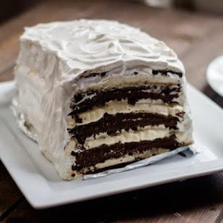Easy Chocolate Vanilla Ice Cream Cake (with ice cream sandwiches).