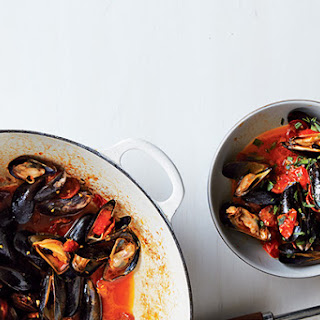 Steamed Mussels with Tomato and Chorizo Broth.