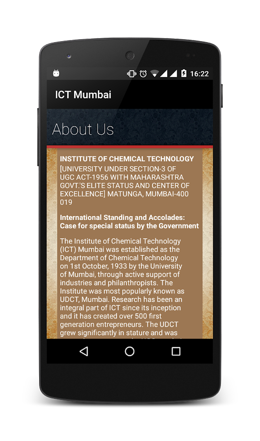 ICT Mumbai Website App- screenshot