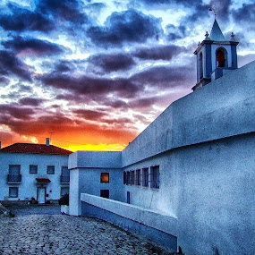Sunset in the street by Ana Paula Filipe - City,  Street & Park  Street Scenes ( clouds, houses, sunset, street, city,  )