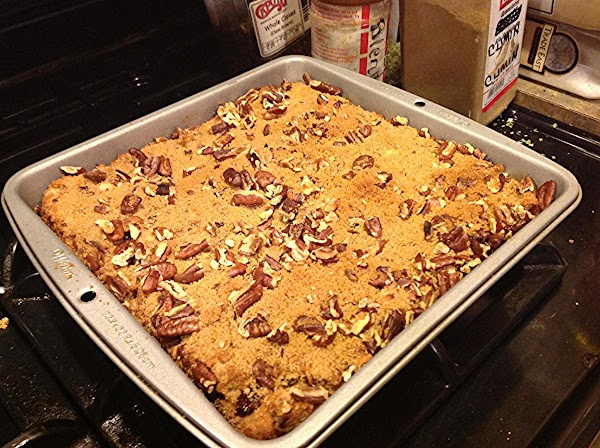 This is what the bread pudding looked like when baked with brown sugar topping....