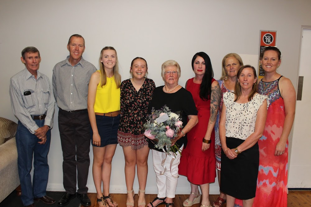 At the SIAHTO Woman of the Year award night, from left, Jerry Bourke, Murray Tindal, Mayah Bourke-Tindal, Pyper Bourke-Tindal, Neila Bourke, Perrie Bourke, who flew in from Brisbane for the occasion, Rae Hall, Kylie Bourke-Tindal and Rhiannon Mulholland.