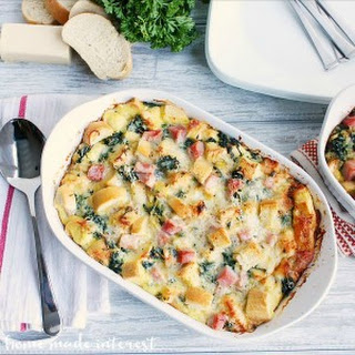 Gruyère, Ham, and Spinach Strata