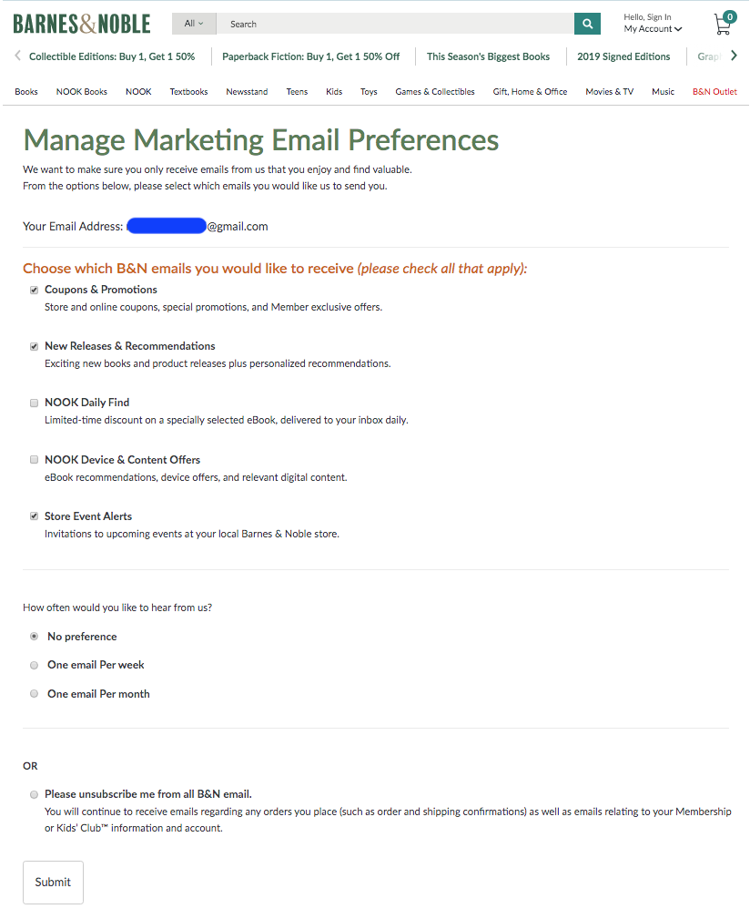 Email preference options by Barnes&Noble