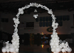 Photo: Forrest Hills Father Daughter dance Angles theme. Large arch at dance floor entry ~ Balloons By Turnadaisy ~ artwithballoons.com Grand Rapids, Mi.