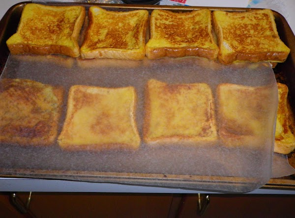 TO FREEZE: place french toast on waxed paper on cookie sheets and place in...