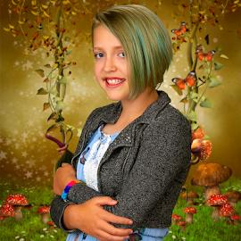 The girl with green hair by David Salmon - Babies & Children Child Portraits ( green screen, mushrooms, swing, butterflies, green hair, blue dress )