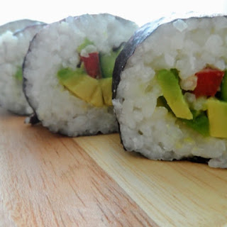 Vegan Sushi with Avocado, Bell Pepper and Cucumber.