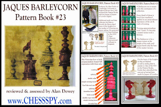 Photo: A set that Chesspy sold some time ago - the above images are taken from the 'advert' etc that was prepared and compare the set to No.23 in the Pattern Book. The set appears to be a 'mix' of design, incorporating the more basic shapes (especially the King's crown) found on their Barleycorn sets together with the more ornate designs from the central barrel body on #'s 23/24.   As mentioned by Chesspy, the central determinative factor indicating a Jaques provenance is the shape of the knights heads, that seems to be common to all such Jaques pre-Staunton bone sets.  Whilst it is not impossible that Jaques bought in the knight's heads (rather than carved them in-house for their own exclusive use), they seem not to be found on sets that - otherwise - do not 'comply' with set designs illustrated in the Pattern Book. It therefore seems reasonable to assume that the specific knights heads can be taken to attribute provenance to Jaques.