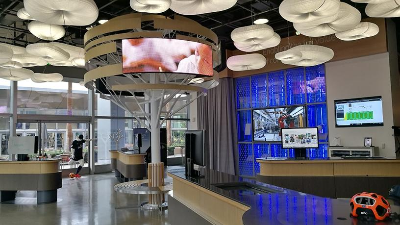 The entrance into the centre showcases all new Ericsson solutions.