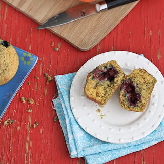 Healthy Cornmeal Muffins with Berries & Lemon.
