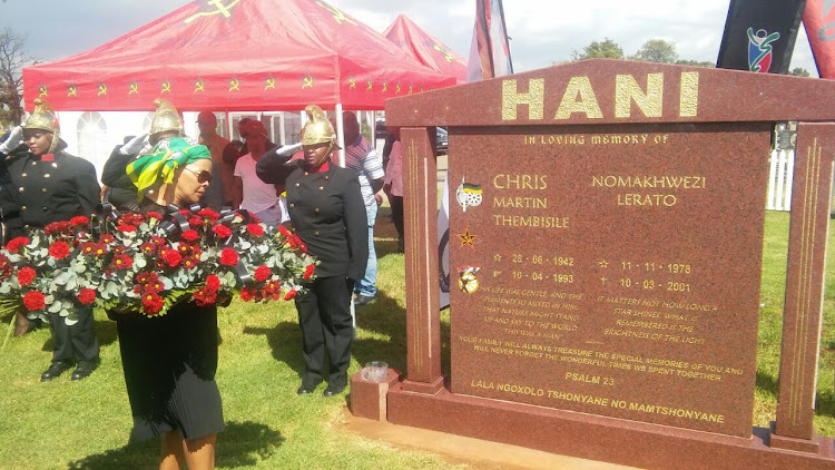 Limpho Hani lays wreath at the grave of her late husband Chris Hani. The wreath laying ceremony was attended by leaders of the ANC, SACP, government, Sanco, KMVA and Hani family.