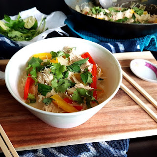 Thai Green Coconut Curry Chicken with Rice Noodles
