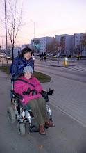 """Photo: 21 XI 2011  roku - z Filipem w drodze do """"ARKI """" - w nowej czapce"""