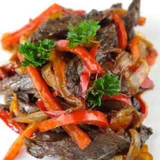 Marinated Grass-Fed Pepper Steak.