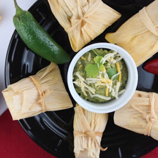 Chicken and Sweet Corn Tamales with Green Chili Avocado Salsa.