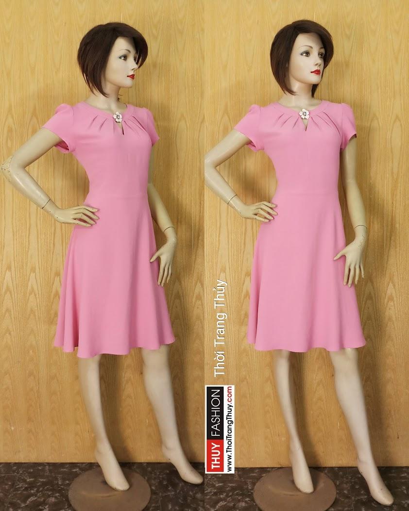 Váy công sở dáng xòe cổ xếp ly ngắn tay V616 Thời Trang Thủy Hải Phòng