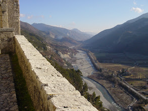 Photo: Farther up, and looking back the way we came, traveling alongside the Var river.