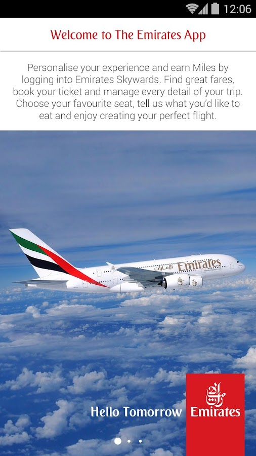 Visionary flight booking app for Fly Emirates. Press