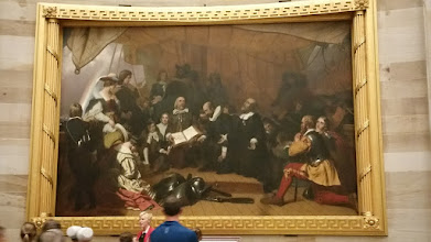 "Photo: Paintings in the rotunda. This one was commissioned by Congreess in 1837 and is the ""Embarkation of the Pilgrims"" - depicts the pilgrims on the ship Speedwell as they depart South Holland in 1620; they would eventually transfer to the Mayflower  - http://en.wikipedia.org/wiki/United_States_Capitol_rotunda"