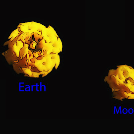 Earth & Moon Flower by Dave Walters - Abstract Patterns ( close up, flowers, nature, photoshop, abstract, colors,  )
