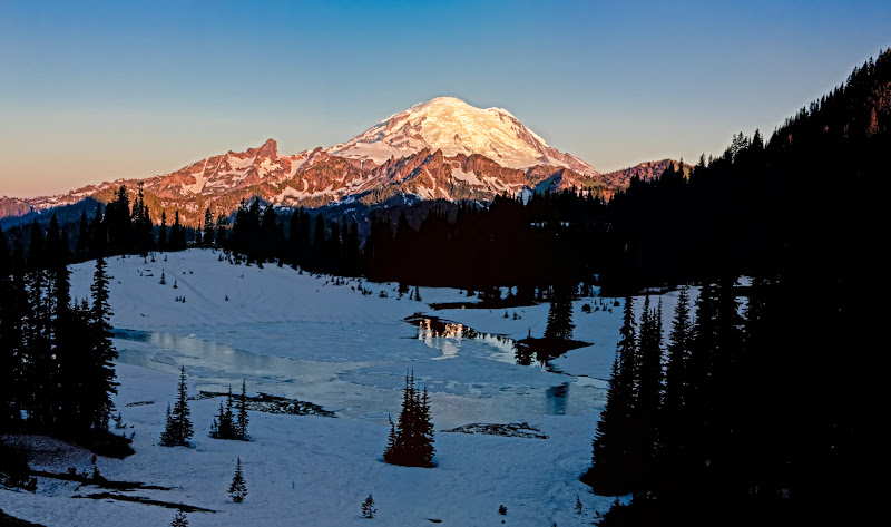 Photo: Here is a close up of sunrise at Mt Rainer and a thawing Tipso Lake... Look I got a bit of refelection in the lake :-P