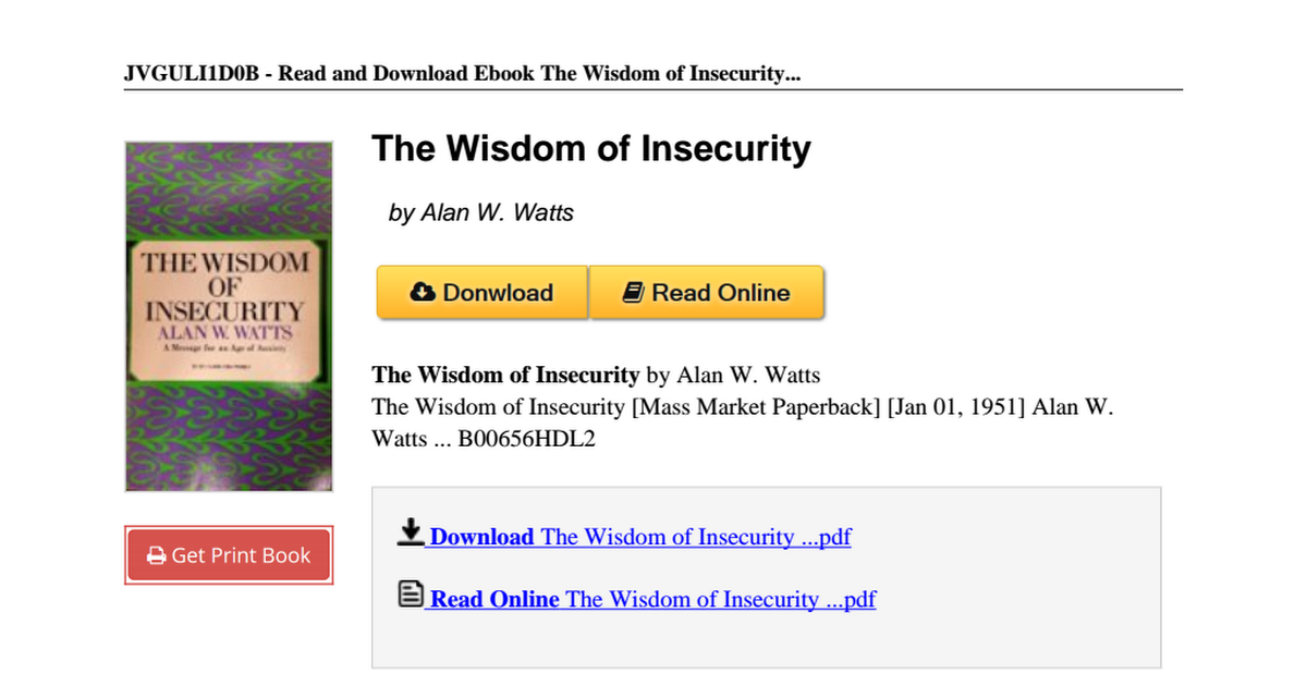 The wisdom insecurity alan watts b00656hdl2pdf google drive fandeluxe Image collections