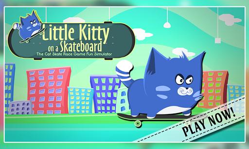 Little Kitty on a Skateboard