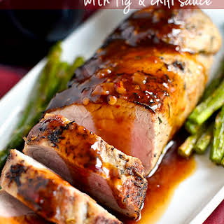 Quick Roasted Pork Tenderloin with Fig and Chili Sauce.