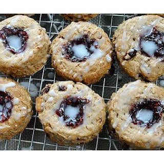 Raspberry Thumbprint Wholewheat Scones With Macadamia Nuts.