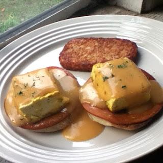 Tofu Benedict with Vegan Hollandaise Sauce and Homemade English Muffins