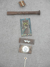 Photo: August, 2010: Key Mobile-Mixed found objects and copper wire. 2nd Annual Pie and Art Festival, Moon Lake, WI