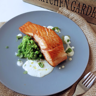 Salmon with Pea and Chilli Pea Mash and Almond Sauce