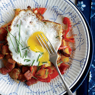 Corned Beef Hash with Fried Eggs.
