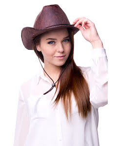 Cowboyhatt Läderimitation