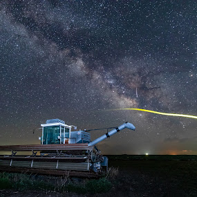 Firefly photobomb by Jim Talbert - Transportation Other ( landscapes, sky, milky way, firefly, milkyway, nightsky, stars, kansas, combine )